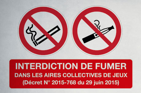 panneau interdiction de fumer sur les aires de jeux