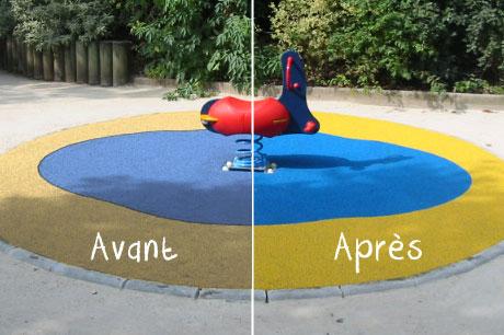 Entretien du sol de sécurité des aires de jeux